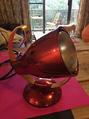 Vintage retro industrial heat lamp, red/copper, unique design, works perfectly