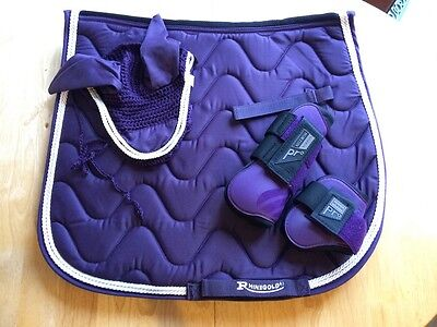 Simply Purple Saddle Pad, Norton Pro Boots and Fly Veil Set Full