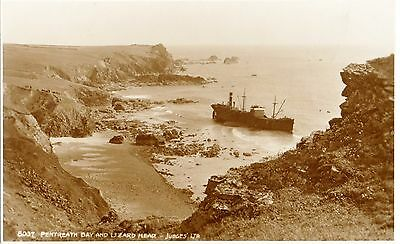 Pentreath Bay & Lizard Point with S.S.Nivelle run aground 1923 (Judges 8037)