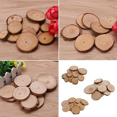 10Pcs Rustic Natural Round Wood Pine Tree Slices Craft Wedding Centerpiece Decor