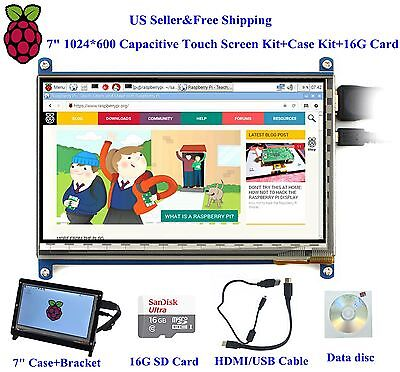 "7"" 1024*600 Capacitive Touch Screen Kit+Case Kit+16G Card for Raspberry Pi3/2B"