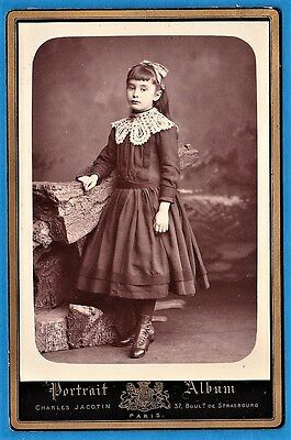 cabinet card photo lovely young girl portrait dress lace fashion France ca 1880