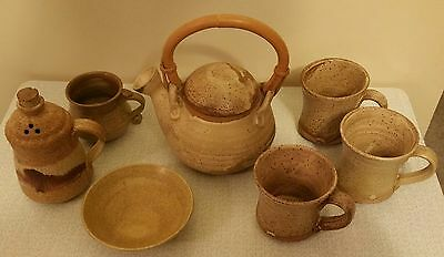 Clay Teapot Set With Three Cups, Creamer, Cookie  Dish,  and Sugar Bowl