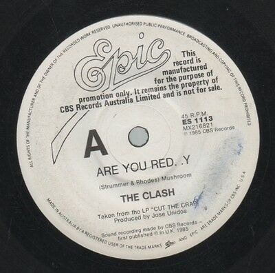 "THE CLASH    Rare 1985 Australian Promo Only 7"" OOP Punk Single ""Are You Red..y"""