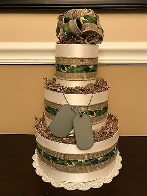 Diaper Cake Army Camo Green Dog Tags Boys Pampers Baby Shower Centerpiece