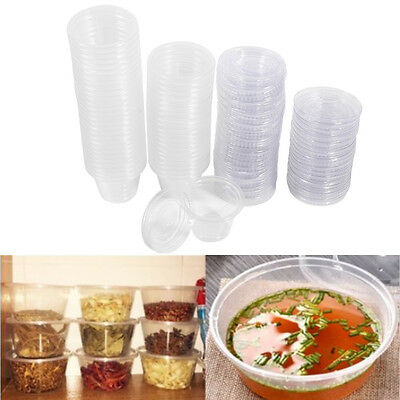 50x Disposable Plastic Condiment Sauce Chutney Cup Food Container Storage Box CO