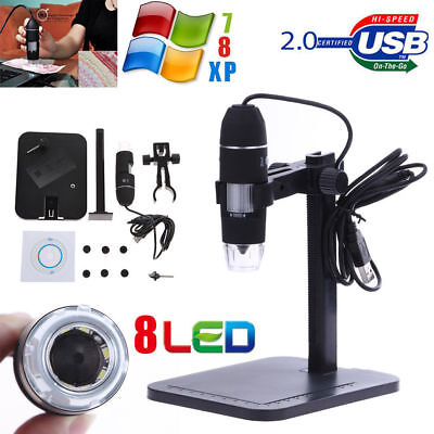 1000X 8 LED 2MP USB Digital Microscope EndoscopeMagnifier Camera+Lift Stand USA