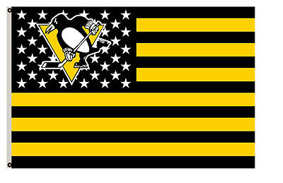 Pittsburgh Penguins flag with strpe and stars Flag 3x5ft
