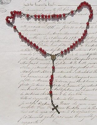 Antique French Rosary Cranberry Red Glass Beads Lourdes Heart and Cross