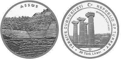 Assos Ancient City - Athena Temple, 31g Sterling Silver Coin, Turkey 2017 Rare