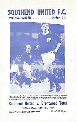 Football programme  Southend United v Brentwood Town - Essex Cup Semi-Final 1969