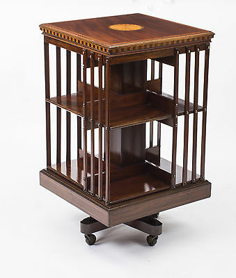 Antique Edwardian Shell Inlaid Flame Mahogany Revolving Bookcase  C1900