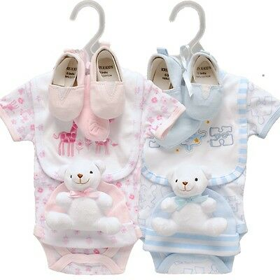 Baby 6 piece layette Clothing Shoes & Soft Toy Teddy Gift Set  by Kris x Kids