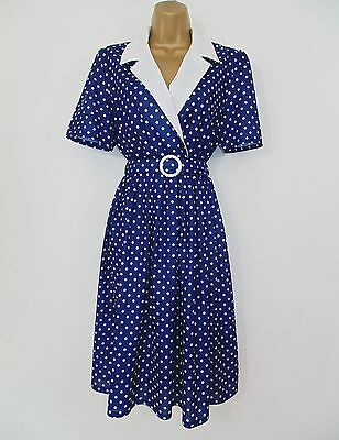 Vintage 80's Blue White Polka Dot Spot Midi Shirtwaister Day Dress Size 10/12