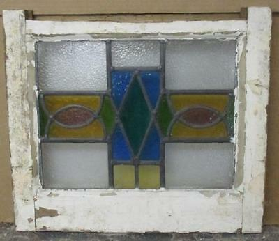 """OLD ENGLISH LEADED STAINED GLASS WINDOW Pretty, Colorful Geometric 19"""" x 16.5"""""""