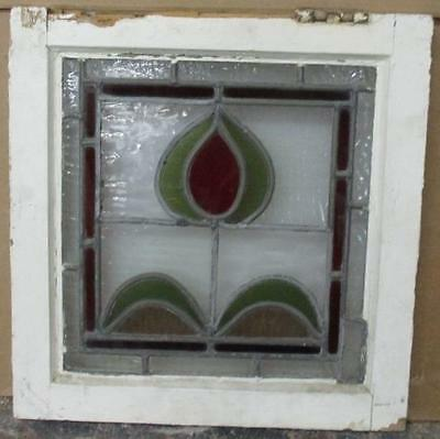 """OLD ENGLISH LEADED STAINED GLASS WINDOW Delightful Floral Abstract 16"""" x 16"""""""