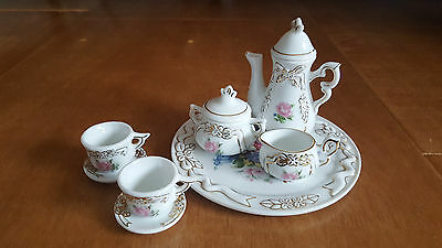 Cute Miniature 8pc Tea Set China Doll House Toy Dishes Floral Gold White