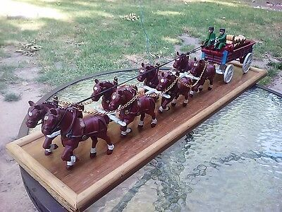 Vintage Cast Iron Horse Drawn Beer Wagon Dog 2 Driver 8 Clydesdale 26 Barrel