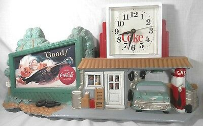 1990 Burwood COKE Coca Cola Wall Clock Route 66 Gas Station/Billboard '57 Chevy