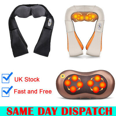 Electric Shiatsu Kneading Neck Shoulder Body Massager Heat Neck Car Portable Use