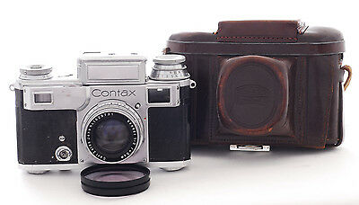 Contax III with Sonnar 5cm f2.0 lens. Shows signs of use.(1042)