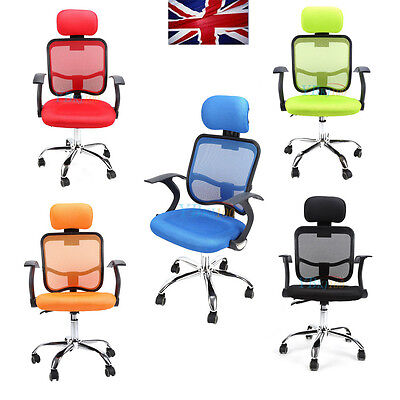 Adjustable Executive Office Home Computer Chrome Chair Mesh Seat Fabric Swivel