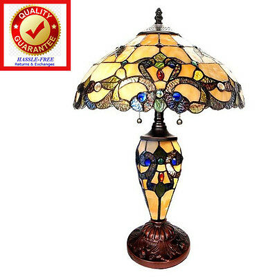 Tiffany Style Stained Glass Double Lit 20inch Ivory Colored & Jeweled Table Lamp