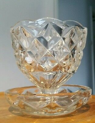 Antique Glass Dish With Attached Saucer