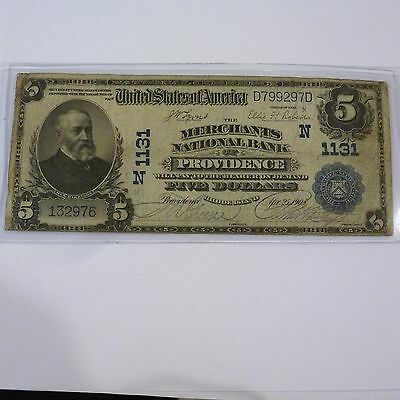 1902 $5 Merchants National Bank Large Size Us Currency Note Lyons / Roberts