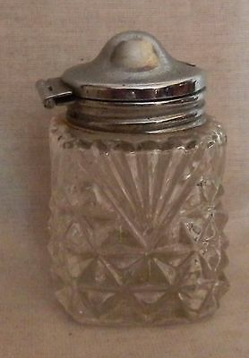 Lovely vintage art deco style glass mustard pot with silver plated lid