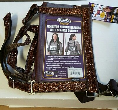 Weaver Leather Exhibitor Number Harness w/copper Sparkle Overlay S/M