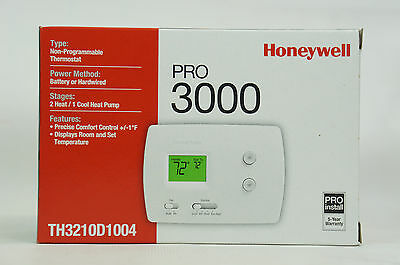 Honeywell Pro 3000 TH3210D1004 Non-Programmable Thermostat 2 Heat / 1 Cool New