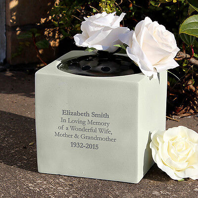 Personalised Message Memorial Vase - Grave Flower Bowl Cemetery Holder