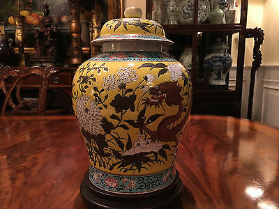 A Large Chinese Famille Rose Porcelain Dragon Jar with Cover.