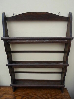 Vintage French wooden wall mounted kitchen shelf, spice rack, holds 18 spices