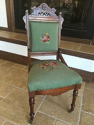 Victorian Eastlake 1890 Antique Child's Chair, upgraded needlepoint upholstery.