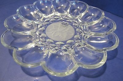 """Princess House """"Fantasia"""" #591 Crystal Deviled Egg Plate - New In Box"""