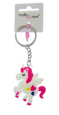 childs pony key chain unicorn PRANCING WITH HEARTS