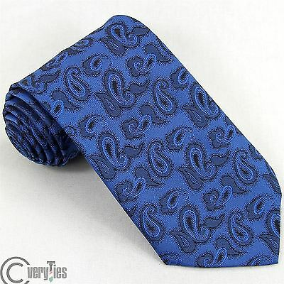Cravatta RETRO Blu Paisley Poliestere Made in Italy Tie
