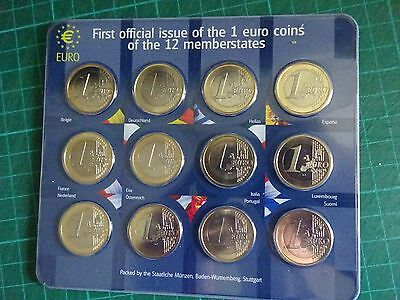 RARE FIRST OFFICIAL ISSUE 1 Euros Coin Set Sealed On Card - 12 Coins