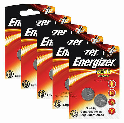 10 X Energizer CR2032 3V Lithium Coin Cell Battery 2032 Expire 2024