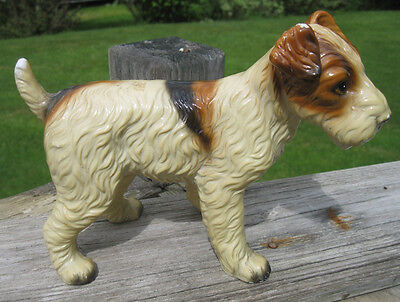 "Vintage Royal Crown Fox Terrier Wire Dog Ceramic FIgurine Large  7"" x 9"""