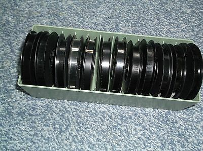 TWELVE SUPER 8MM COLOUR HOLIDAY/HOME MOVIES 50ft WITH CASES IN CONTAINS (no lid)