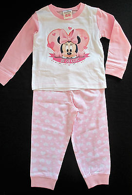 Baby Girls Pink & White Minnie Mouse Pyjamas 6-9 9-12 12-18 & 18-24 months