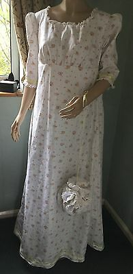 Regency Dress, Jane Austen, 3/4 Sleeves, Cotton Sz16 Includes Reticule, Free P&P