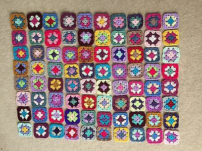 80 Multi Coloured Crochet Granny squares. For blankets, throws, cushion covers