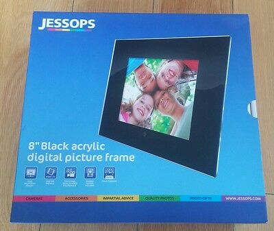 "Jessops 8"" Black digital Photo frame 256mb Internal  Memory. New in Box"