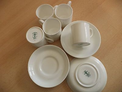 Old Antique Crown Staffs Plain White China Tea Set Trio Cup & Saucer Coffee Cans