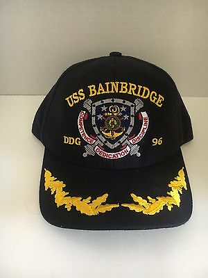 "U S NAVY CAP  ""USS BAINBRIDGE  "" DDG-96          DON NASH Embroidered on back"