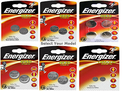 Energizer CR2032 CR2025 CR2450 CR2430 LR44 3V Lithium Coin Cell Battery Exp 2024